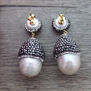 FC101213 White Keshi Pearl Trimmed With Marcasite Earrings 925 Silver Stud