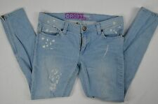 Roxy Junior Womens Super Skinny Distressed Denim Blue Jeans size 9