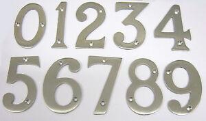 """SATIN NICKEL 3"""" HIGH DOOR NUMERALS WITH SCREWS 75MM DOOR NUMBERS HAFELE BRAND"""