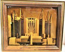 CENTURY OF PROGRESS ART DECO GOLD TONE, OROTONE, PHOTO TRAVEL & TRANSPORT BLDG.