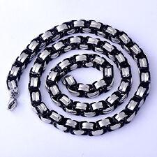 Men's White Gold FilledStainless Steel Black Link Necklace Statement