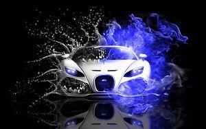 Super Sports Car Racing Bugatti 3d Mural Wall View Sticker Poster Decal Art 1024