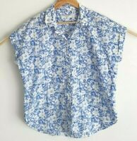 Sportscraft Blue Floral Cotton Button Up Shirt Blouse Size 14