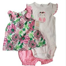 Just One You by Carter's Baby Girl Sz 6M Pink Floral Owl 3 Piece Floral Gingham
