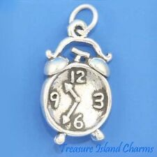 OLD STYLE ALARM CLOCK 3D .925 Solid Sterling Silver Charm MADE IN USA