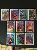 Marvel Masterpieces 1994 Silver Complete Holofoil Set 1 2 3 4 5 6 7 8 9 10
