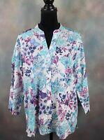 Salon Studio Women's Blouse Size Large Butterfly & Dragonflies White Button Down