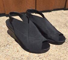 EILEEN FISHER Black Criss Cross Slingback PLATFORM Wedge Sandals Shoes Heels 8