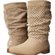 NEW 5 W Beige Suede TOMS Slouch BOOT Perforated Leather Serra Oxford Tan Calf
