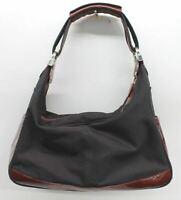 TOD'S Ladies Burgundy Red Leather & Black Nylon Zip Shoulder Handbag Bag
