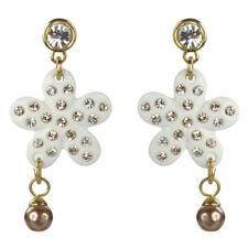Boucles d'oreilles pendantes argenté plaqué or cristal Swarovski fleurs blanches