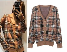 Brown Check Scrawl Knitted Sweater Cardigan Runway Occident 91l