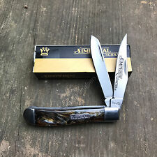 Imperial Schrade Red & Brown Swirl Handle Trapper Folding Pocket Knife IMP16T