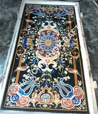 4'x2' Black Marble Dining Coffee Table Top Pietredure Marquetry Inlaid Home Arts