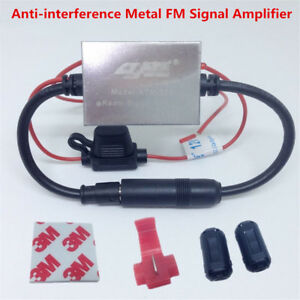 FM Signal Amplifier Anti-interference Metal Auto Car Antenna Radio FM Booster