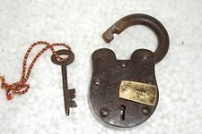 Old Indian Iron and Brass Padlock with Key Aligarh U.P. 12 levers