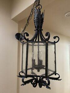"Gorgeous Vtg Gothic Spanish Revival Black Finish Iron Hanging Lantern Light 27"""
