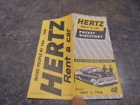 Ancien Livret Pocket Directory Hertz Rent a Car 1956