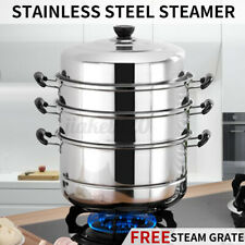 4-Tier Stainless Steel Steamer Hot Pot Steam Vegetable Kitchen Cookware Cooker ~
