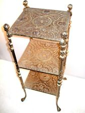 "1950's Hollywood Regency 3 Tier Brass Table Stand 28"" X 12"" X 12"""