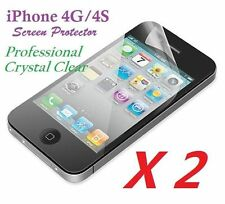 2 x Professional Ultra Clear Crystal LCD Screen Protector for iPhone 4 4G 4S