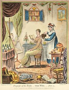 Gillray - Progress of the Toilet 2 - The Wig Perücke Original Antique Print 1849