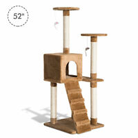 "52"" Cat Tree Condo Scratching Post Kitty Play Center Cat House Pet Furniture"