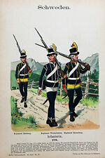 Svezia SWEDEN Reggimento Uniform Elfsborg westerbotten baionetta CAPPELLO Gustav III.