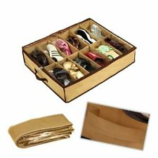 12 Pairs Foldable Shoes Storage Organizer Holder Container Under Bed Closet Case