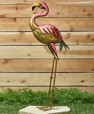 New Tall  Metal Outdoor Bright Coloured Standing Flamingo Bird Garden Ornament