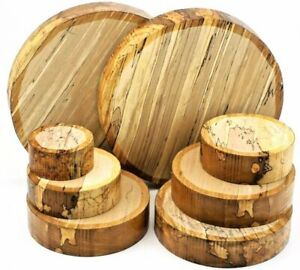 One English Spalted Beech woodturning or wood carving bowl blank. 50mm thick