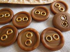 lot 6 jolis boutons vintage effet bois marron 2,2 cm ancien ref 1906