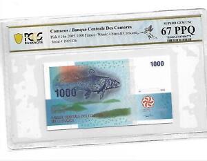 Comoros/Banque Centrale Des Comores Pick#16a 2005 1000 Freancs PCGS 67 PPQ