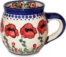 "Boleslawiec Polish Pottery Unikat Coffee or Tea Bubble Mug 16 Oz ""poppy Field"""