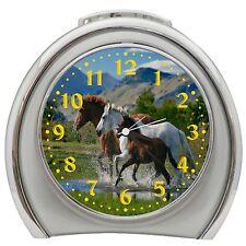 Running Horses Alarm Clock Night Light Travel Table Desk