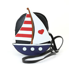 BLACK+BLUE+RED+WHITE LEATHERETTE SAIL BOAT AMERICAN FLAG CROSS BODY,PURSE,BAG