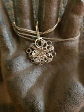 ANTIQUE STERLING SILVER FILIGREE FLOWER PENDANT ON STERLING BOX CHAIN NECKLACE