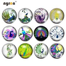 12pcs 18mm Snap Button Peacock Pattern Glass Snap Charms Fit Snap Jewelry KZ0115