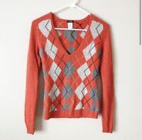 J Crew Womens Orange Gray Argyle Wool Cashmere V Neck Sweater size Small
