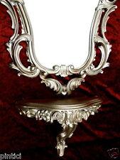 Espejo de Pared Plata Antigua con consola 76x50 Estante Repro Baño