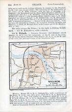 Villach 1911 kl. orig. Stadtplan im Text + engl. Reisef. (2 S.) Draulände Gasser