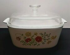 """Vintage Corning Ware """"Wildflower"""" 5 Quart Casserole with Clear Pyrex Dome Lid"""