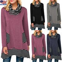 US Women Striped Long Sleeve Loose Long Top Blouse Turtle Neck T Shirt Plus Size