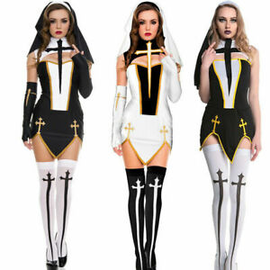 Sexy Sister Habit Nun Costume Adult Ladies Fancy Dress Halloween Womens Outfit.
