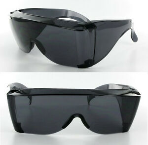 Extra Large Fit COVER Over Most Rx Glasses Sunglasses Safety drive put Dark Lens