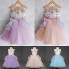 Flowers Kids Girls Unicorn Bridesmaid Pageant Party Formal Lace Mesh Tutu Dress