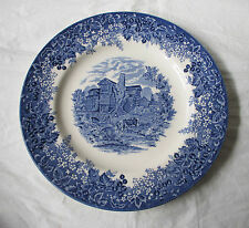 "Wedgwood Queen's Ware MORETON OLD HALL 10.75"" Dinner Plate Blue Romantic England"