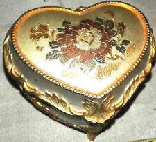 pretty gold & silver tone rose emblem on lid flower detail on sides trinket box