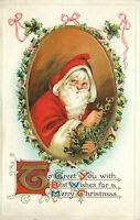 ~Red~Hooded Santa Claus with Holly Berries ~Antique Christmas Postcard-c423