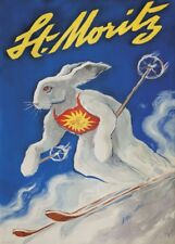 Vintage Ski Posters ST. MORITZ, Swiss, 1949, Art Deco Travel Print